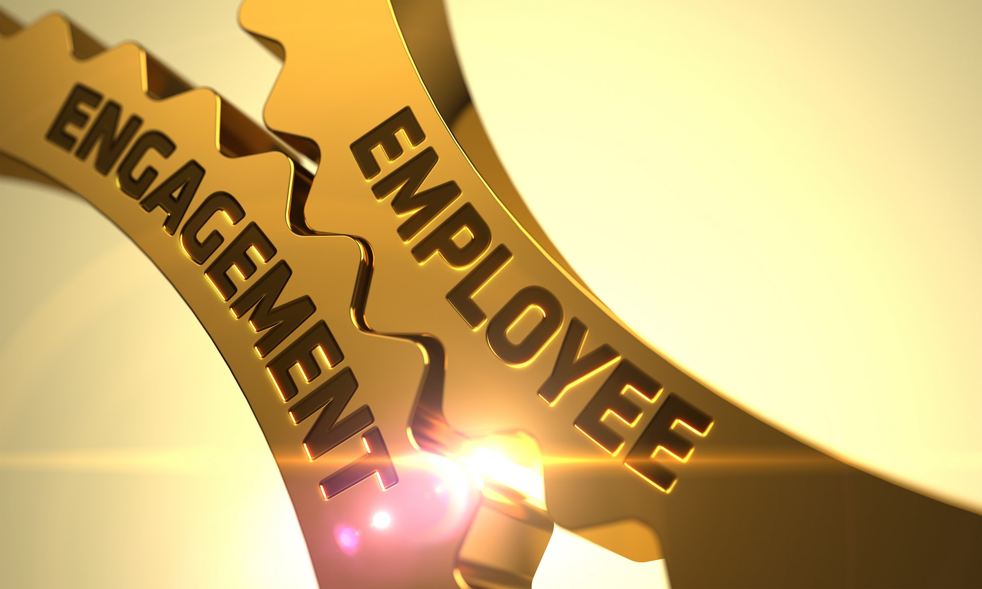 Employee Engagement on the Golden Gears. 3D.